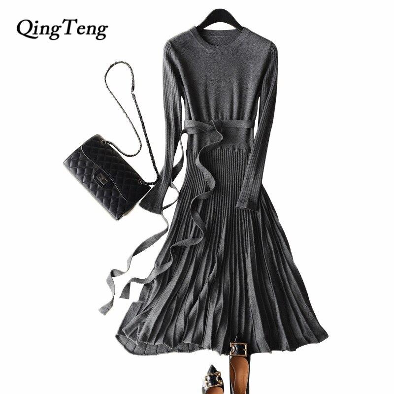 QingTeng Вязаные Платья Плиссированные Женщин Осень Зима Вязание Теплые Туники Свитера Платья Для Женщин С Полными Длинным Рукавом Шерсть