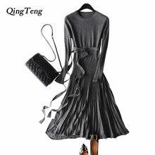 Qingteng вязаное платье плиссе Осенне-зимняя Дамская обувь Вязание Туника теплый свитер Платья для женщин для Для женщин с полным с длинными рукавами, шерстяные