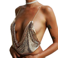 2017 summer sexy halter camisole tank top women adjustable strap sleeveless deep v neck bustier gold sequin crop tops Backless