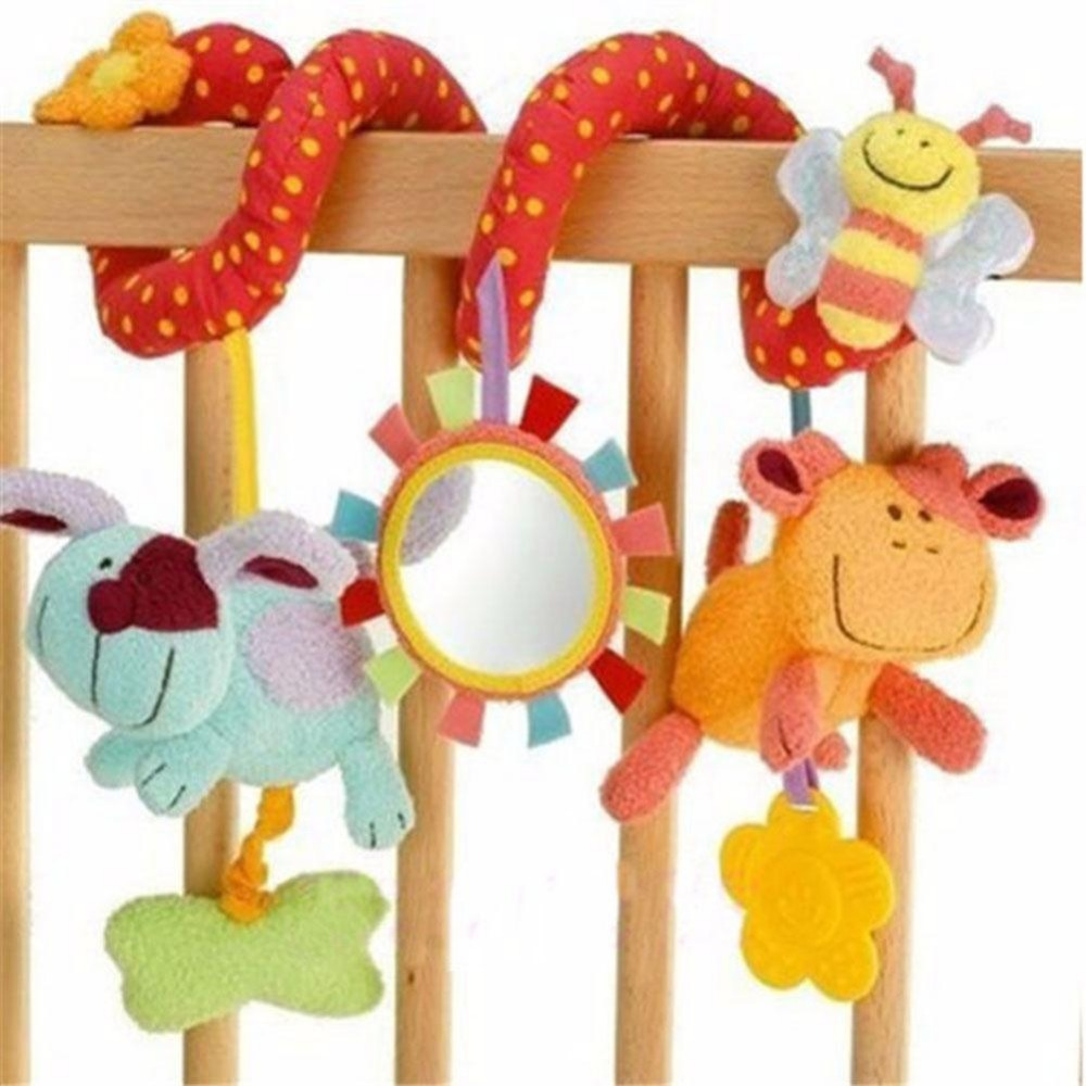 Animal Handbell Newborn Baby Pram Bed Bells Hanging Plush Stuffed Toys Rattle Infant Spiral Crib Stroller Toy Set toy baby stroller comfort stuffed animal rattle mobile infant stroller toys for baby hanging bed bell crib rattles toys gifts