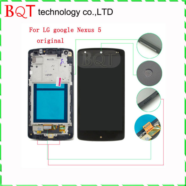 Original nexus 5 lcd para lg google nexus 5 d820 d821 display lcd touch screen digitador com a montagem do quadro