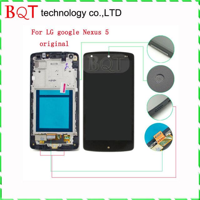 Original nexus 5 lcd para lg google nexus 5 d820 d821 pantalla lcd de pantalla táctil digitalizador asamblea con marco