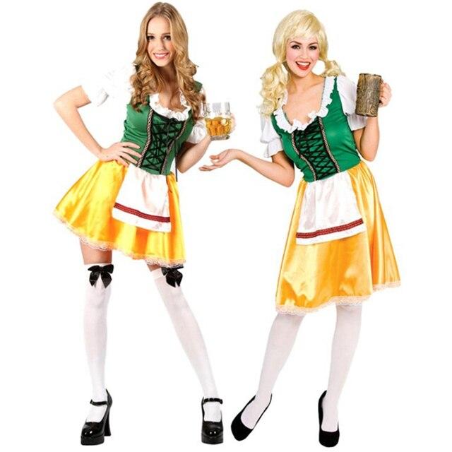 2016 New Fashion High Quality Sexy Dutch Beer Girl Cosplay Halloween Adult Costume Fancy Dress Oktoberfest Clubwear Wholesales