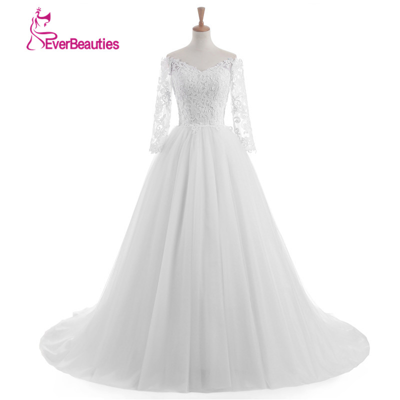 Vestido de novia 2017 cheap lace wedding dresses long for Fall wedding dresses plus size