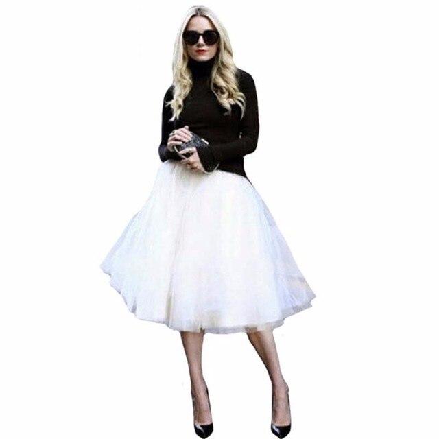 796fa6230314 New Puff Women Chiffon Tulle Skirt White faldas High waist Midi Knee Length  Chiffon plus size Grunge Jupe Female Tutu Skirts