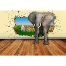 Laeacco Vinyl Backdrops Elephant Tiger Grassland Cracked Wall Wooden Floor Baby Photography Backgrounds Photocall Photo Studio