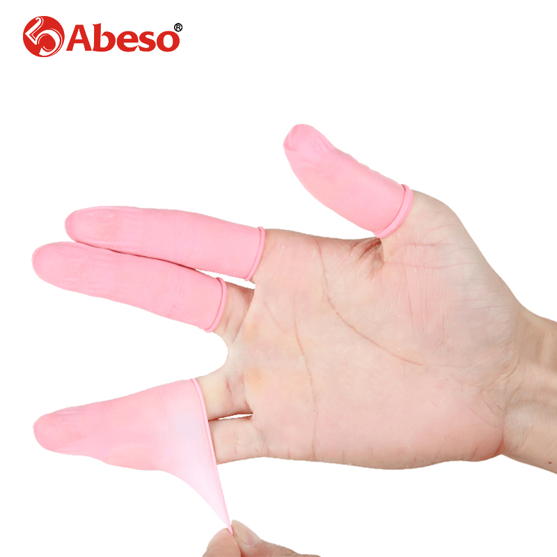 100/1000pcs/lot ABESO Durable Pink Latex Finger Cots Safety Gloves Antislip For Chalk Electronic Finger Cots A7214