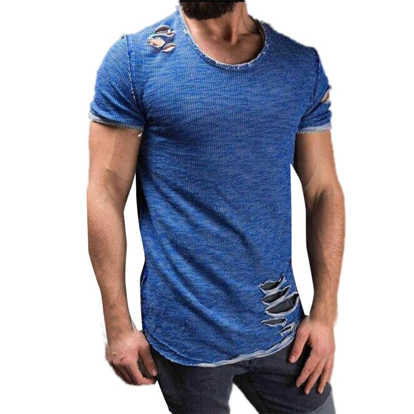 2017 Summer new European and American Mens Casual Tees Solid t-shirt male loose mens sort sleeve Hole T-shirt S-XXXXL WT#T3 ...
