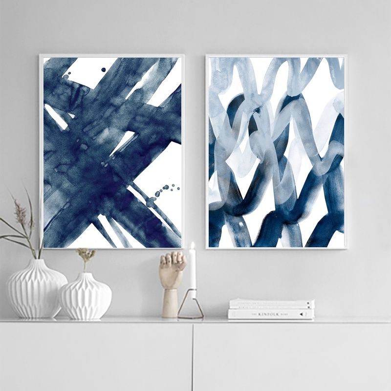 Abstract Painting, Navy Blue, Watercolour Wall Art Print ...