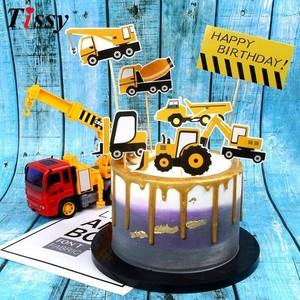 Image 5 - 1Set Construction Tractor Theme Inflatable Balloons Truck Vehicle Banners Cake Decor Baby Shower Boys Birthday Party Supplies