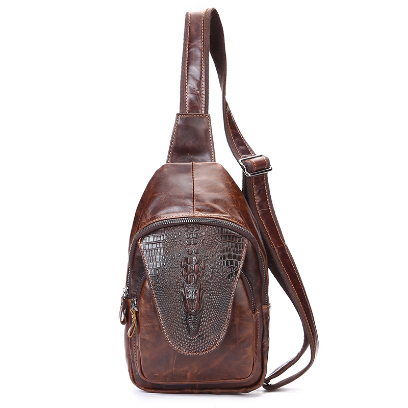 New Retro Genuine Leather Men Chest Bag Pack Crossbody Shoulder Messenger Sling Bag Travel Double Zipper Bags  JIE-0112 цены онлайн