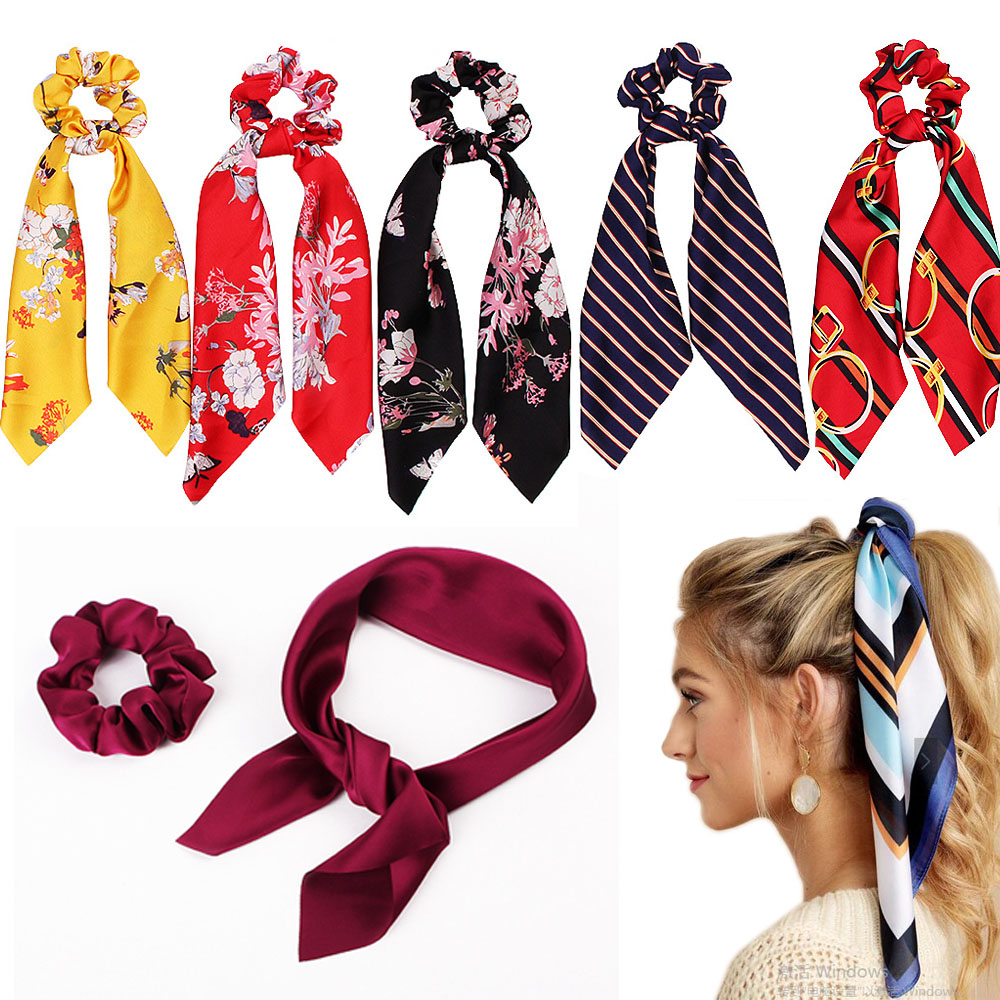 FASACC Satin Scrunchies Women Elastic Hair Bands Ties Scarf Woman Scrunchy Hairbands Turban Head Wrap Summer Accessories