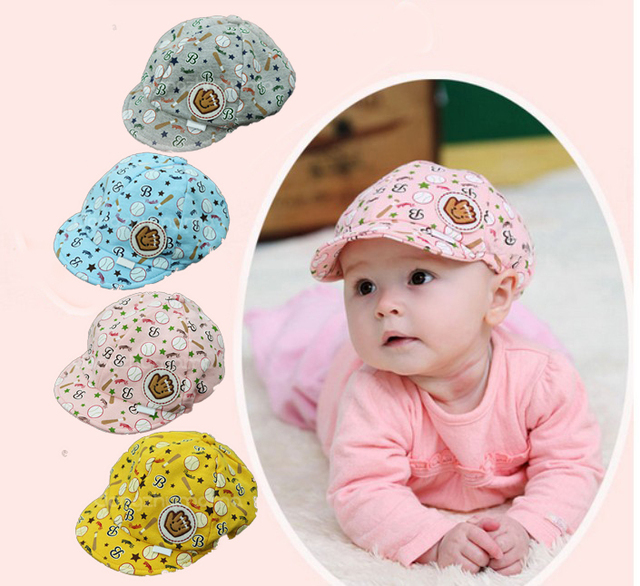 f9880798e78 1pcs Free Shipping Cartoon Kids Hats For Baby Grils Boys Funny Child Caps 4  Color Baby Baseball Cap Newborn Photography Hat