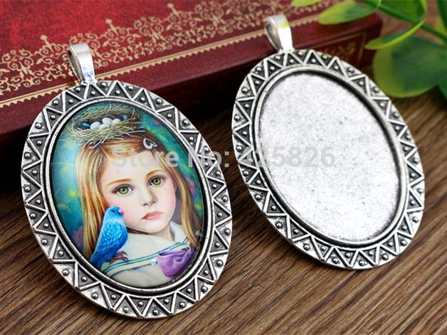 New Fashion  2pcs 30x40mm Inner Size Antique Silver Simple Style Cabochon Base Setting Charms Pendant (B3-31)