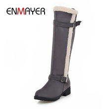ENMAYER New Fashion women flock round toe  square heel buckle slip-on boots lady solid knee high boots ZYL704 new winter women black gray orange color round toe square heel slip on knee high boots elastic plus size knight long boots lady