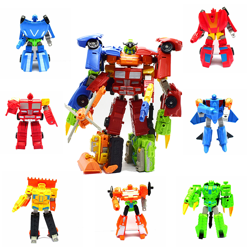 7pcs/set Kids Classic 7in1 Transformation Assembly Robot Aircraft Tanks Helicopters Cars Toys For Children Action Toy Figures 7 pcs set with original package transformation robot cars and prime toys action figures classic toys for kids christmas gifts