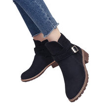 women shoes middleheel Spring Square Wood Heel Shoes Lace-up Round Toe Casual Shoes #NFA(China)
