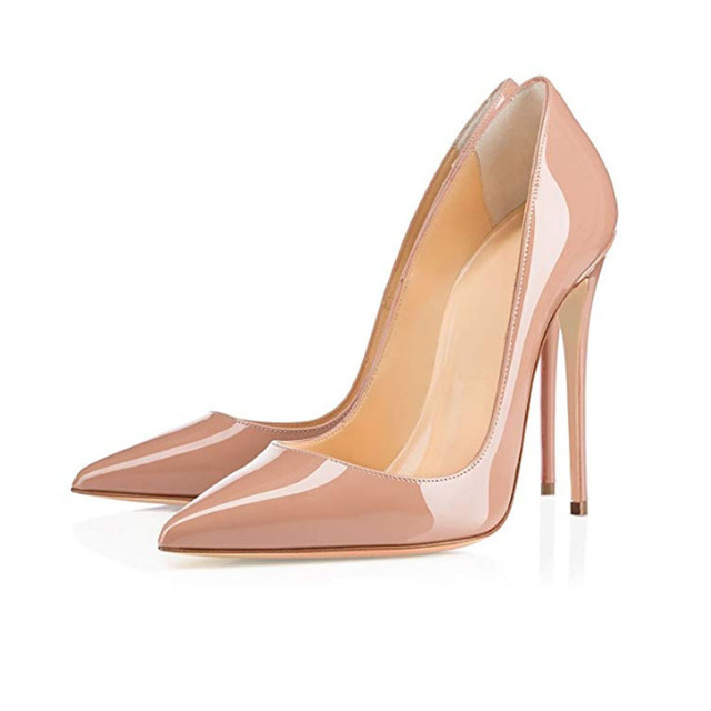 a1f7030dc91a 2019 Newest Party Shoes Stilettos Black Nude Heels Sexy Pointed Toe 12cm  Thin Heels Woman Pumps Patent Leather High heels