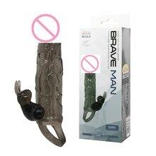 length 5.91″ bigger penis sleeve multi-speed bullet vibrator with ball strap on extender sex toys dildo for brave man