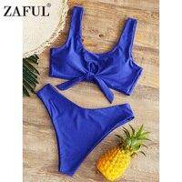 ZAFUL Knot Bikini Swimwear Women 2018 Sexy High Cut Swimsuit Beach Brazilian Bikini Push Up Bathing