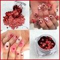 1 caja de 3mm holográfica láser de color Rojo Corazón Del Brillo Del paillette lentejuelas forma para Uñas de Arte y adornos de BRICOLAJE Herramientas