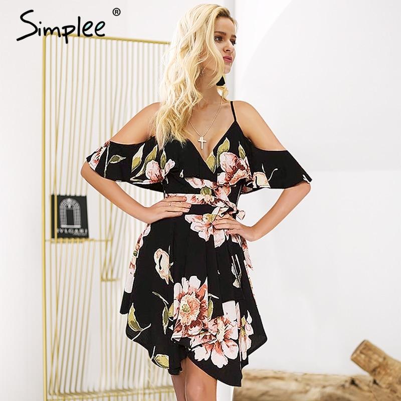 Simplee Cold shoulder strap boho dress women Sexy backless asymmetric casual dress V neck sash floral short dress summer 2018