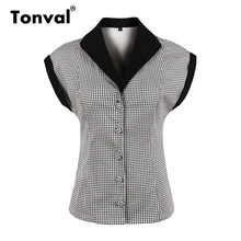 Tonval Short Sleeve Vintage Plaid Shirt Blouse Women 2018 Summer Office Tops Turn-down Collar Cotton Blouses