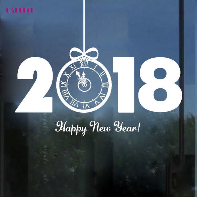 US $5 01 |KAKUDER Free Shipping 2018 Happy New Year Wall Sticker 60 x 60cm  Red&White Shop Windows Decals Decor Happy Gift Dropship-in Wall Stickers