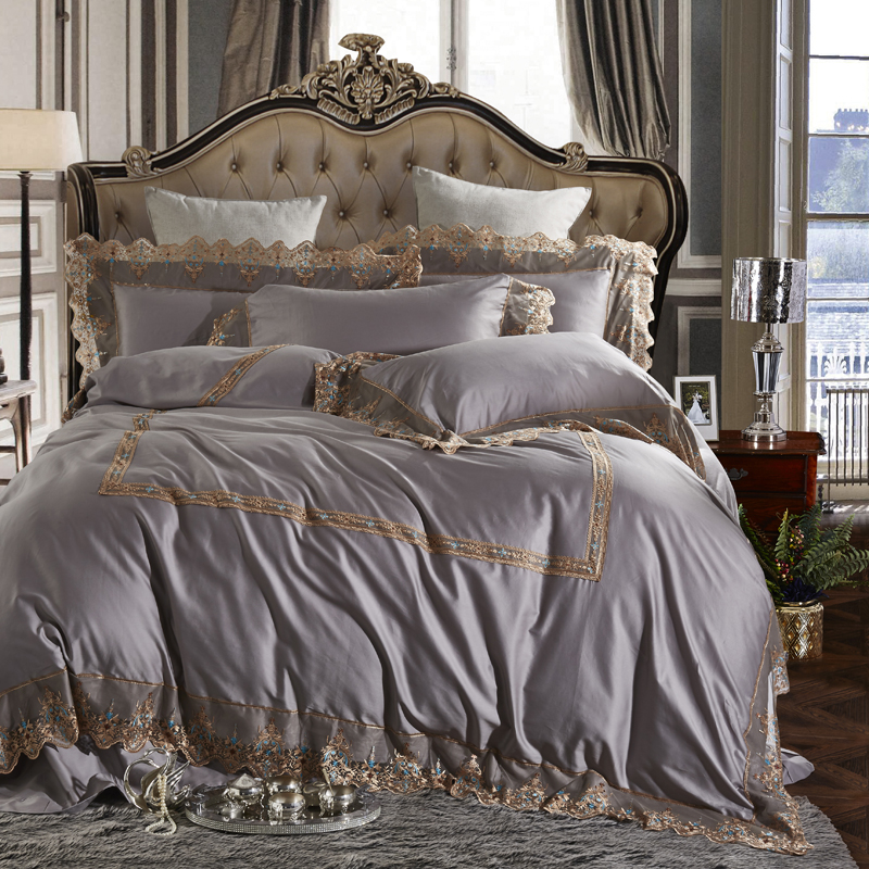 Queen Double/King Size Egyptian cotton Duvet cover Bedding set and Bed set Luxury Royal Grey Pink color Bed sheet Bedspread set Queen Double/King Size Egyptian cotton Duvet cover Bedding set and Bed set Luxury Royal Grey Pink color Bed sheet Bedspread set
