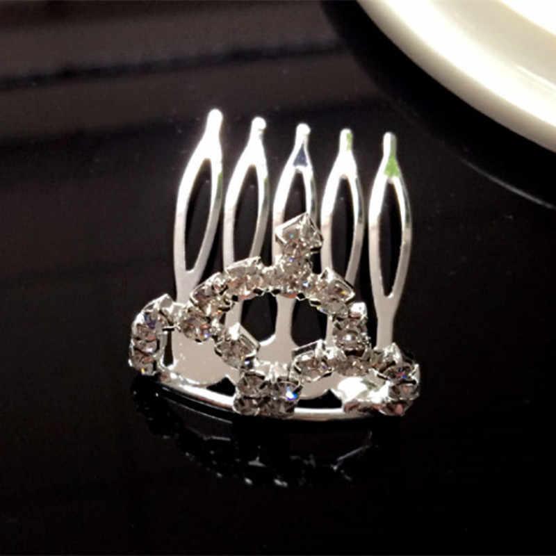 Новый дизайн, милые трафареты для принцессы, расшитые стразами, заколка для волос в форме короны кристалл для девушки детские аксессуары для волос расчески для волос шпильки оптовая продажа