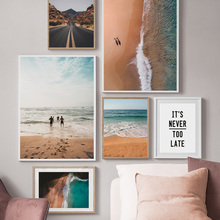 Surf sea Beach Mountain Landscape Quotes Wall Art Canvas Painting Nordic Posters And Prints Pictures For Living Room Decor