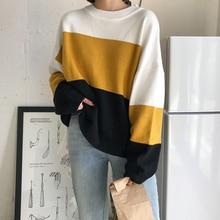 retalhos coreano pulôver camisola