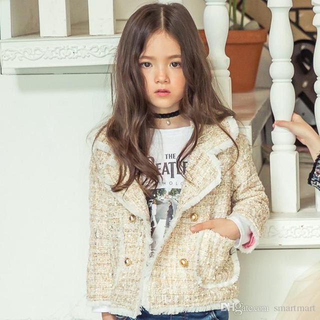 New Kids Девушки Крючком Куртки Outwears Бежевый и Серый Цвет Западная Мода Принцесса Вечеринка Outwears Оптовая