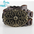 2017New Yuzi Vintage Women Leather Belt Genuine Cowskin Handmade Curved Buckle Belts For Women G02400 Accessories cinto feminino
