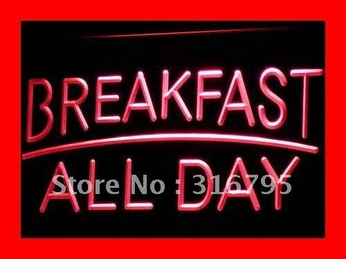 i311 BREAKFAST ALL DAY OPEN Cafe Bar LED Neon Light Sign On/Off Switch 20+ Colors 5 Sizes