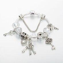 Annapaer 2019 dropshipping moda coração charme pulseiras para feminino presente bloqueio & chave pingente pulseiras pulseiras diy jóias b19026