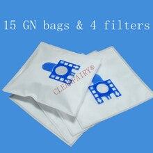 15 sacos de filtro de poeira cleanfairy dos pces compatíveis com miele s5210 s5211 s5261 tt5000 s2121 s8310 8390 8590 substituição para fjm gn