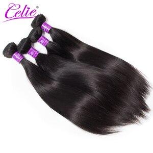 Image 1 - Celie düz saç demetleri brezilyalı saç örgü demeti fırsatlar 3/4 adet Remy saç ekleme insan saç demetleri