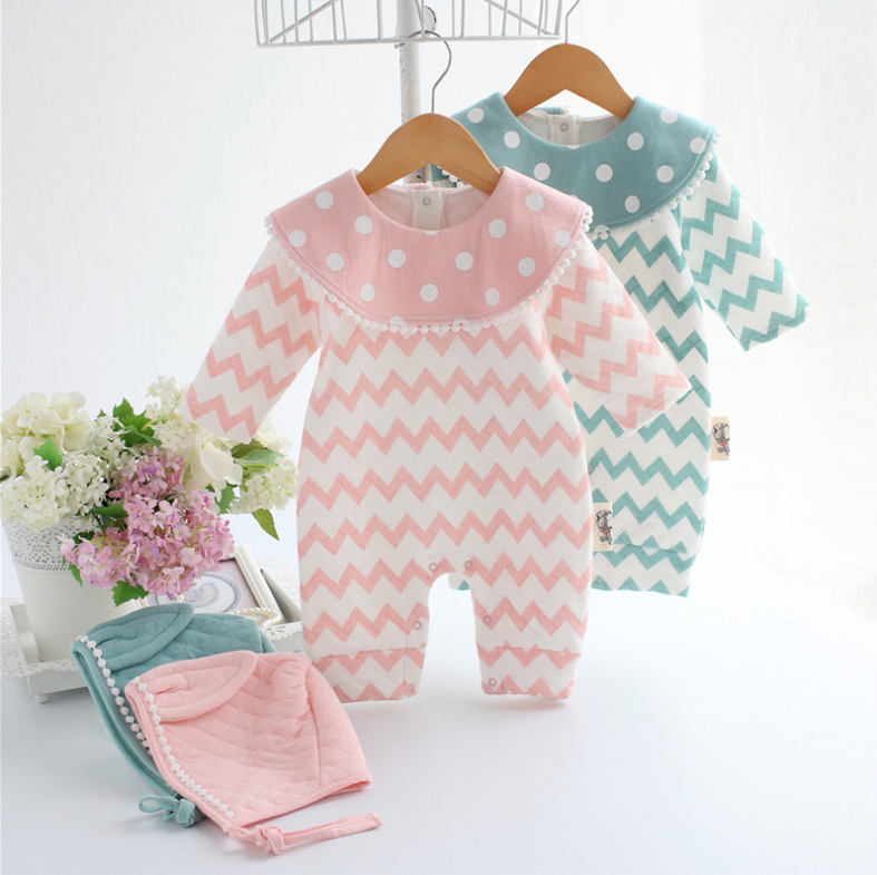 Autumn Winter Baby Girl Rompers Striped Cute Infant Jumpsuit Ropa Long Sleeve Thicken Cotton Girl Romper +Hat Toddler clothes newborn cute toddler floral baby girl rompers infant cotton long sleeve kids jumpsuit overall romper hat children clothes sets