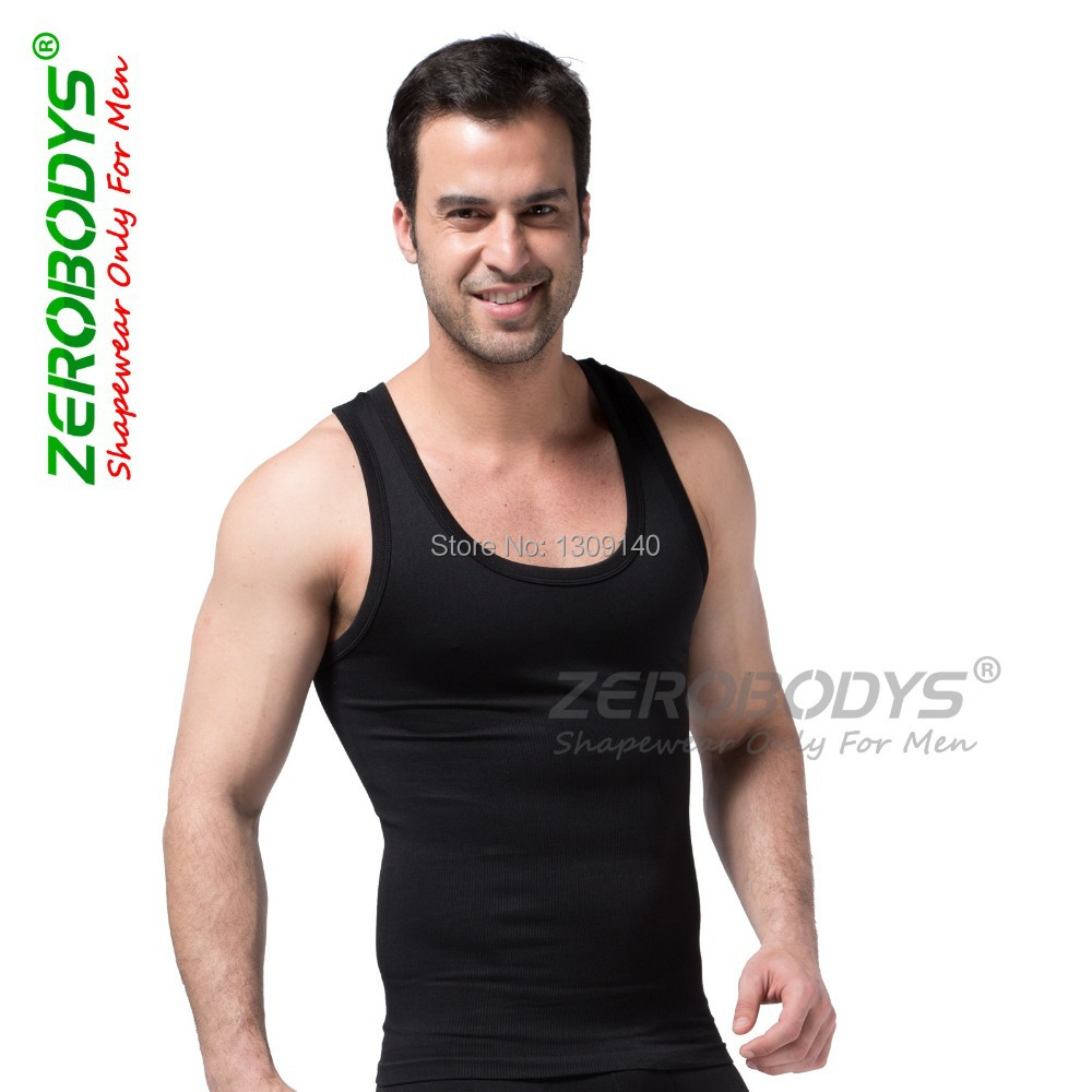 ZEROBODYS Mens Body Shaper Quick Dry I-Shaped Compression Vest Wear Slimming Shapewear Belly Fat Burning Men Sportwear B369 ...