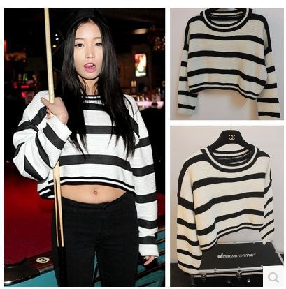 Free Shipping women's tricotado black white stripe sexy short crop ...