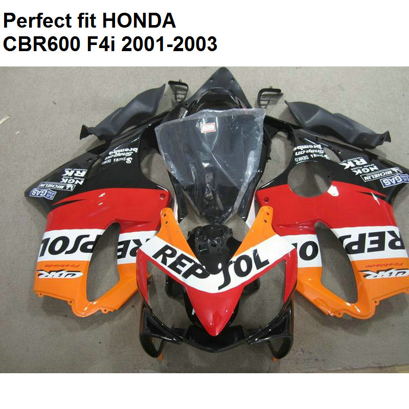 ABS plastic fairing for Honda CBR 600 F4i 01 02 03 orange black fairings kit CBR600 F4i 2001 2002 2003 CV18 fullset abs fairings kits for honda repsol orange 1993 1994 cbr600 f2 1991 1992 cbr 600 f2 92 93 cbr600 f 91 94 fairing kit tan