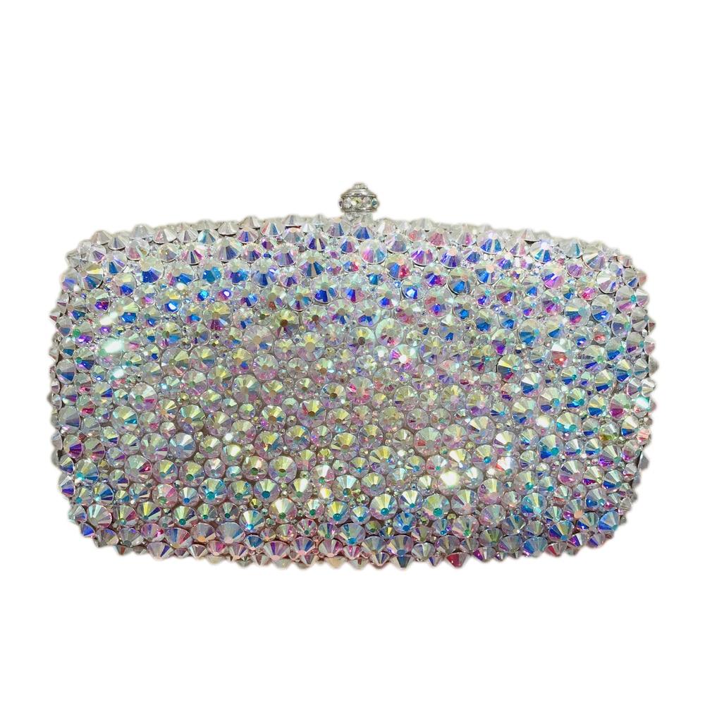 Womens bridal bag crystal gold silver clutch bag Prom evening handbag hard case