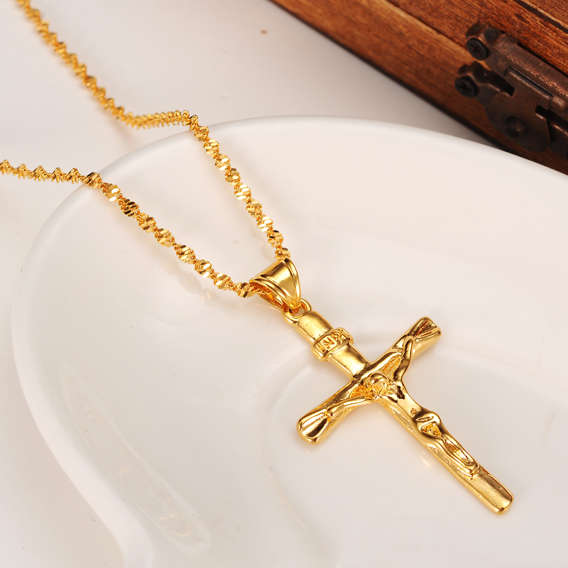 a5e465da108cc 24 K Złota GF Kobiet Mężczyzna Jezus Krucyfiks Krzyż Wisiorek Naszyjnik  Łańcuch Tętnienia 7 dni nie ma powodu do zwrotu