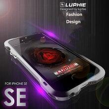 Для iphone 5S SE Luphie тонкий металлический телефон бампер для iPhone 5 SE Алюминиевый бампер кадров с кожаным назад Крышка