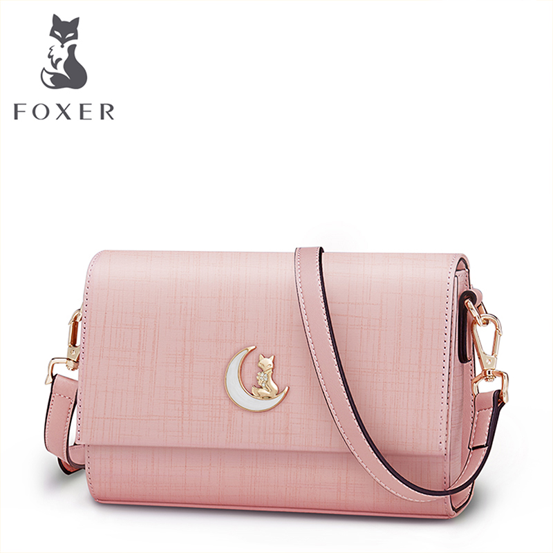FOXER Brand Women's Flap Bag Cow Split Leather Shoulder Bag Crossbody Bags For Women Female Summer Fashion Messenger Bag foxer brand women s bag fashion chain embossing cow leather crossbody bag messenger bag for women female shoulder bags