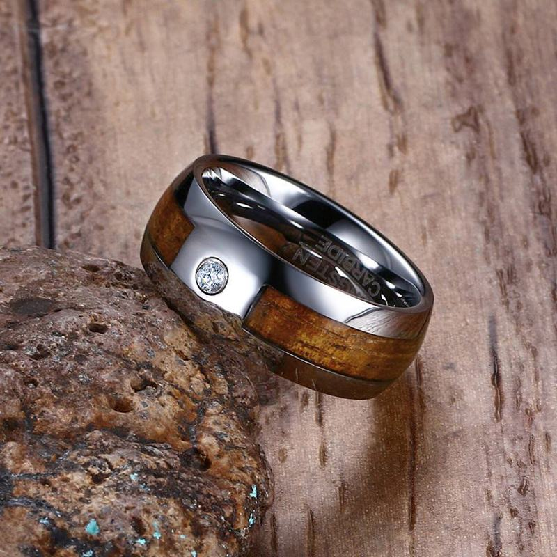 Unique 8mm Mens Tungsten Carbide Rings Mahogany Wood Grain and CZ Inlay Comfort Fit Wedding Band Men Fashion Jewelry anel bague