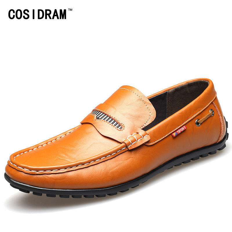 COSIDRAM Genuine Leather Casual Shoes Men Loafers Spring Autum Flats Shoes Soft Bottom Moccasins Leisure Driving Shoes RMC-322 men casual shoes genuine leather fashion moccasins men flats loafers soft bottom leisure driving shoes male footwear rmc 411