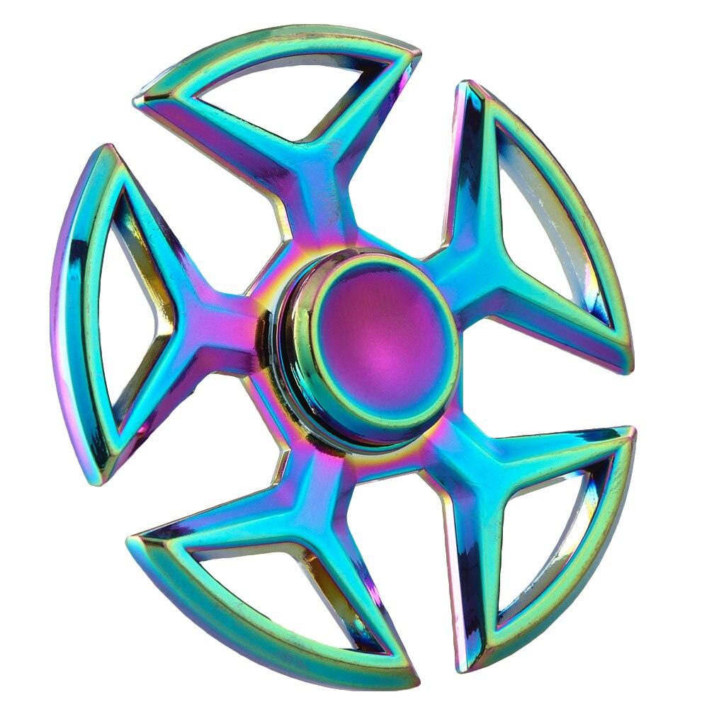 2017 NEW Rainbow Alloy Colorful Gyro Toy Fire Wheel EDC Fidget Hand Spinner Fingertips Focus Toys