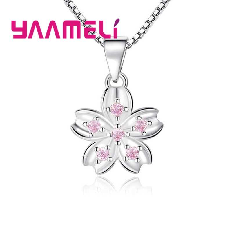 Special Charm Design Fashion Temperament Korean 925 Silver Flower Necklace With Box Chain For Women Best Gift